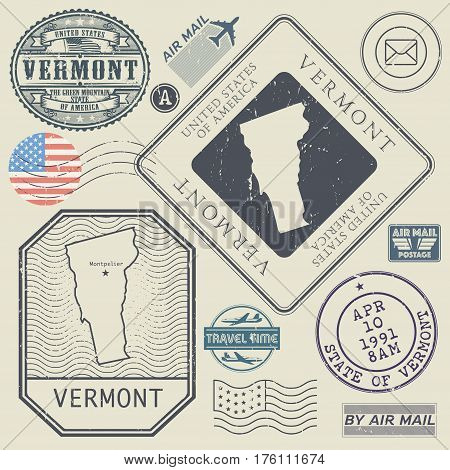 Retro vintage postage stamps set Vermont United States theme vector illustration