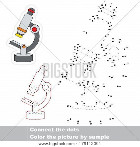 Microscope in vector to be traced by numbers, the easy educational kid game with simple game level, join dots, the visual numbers game for preschool children.