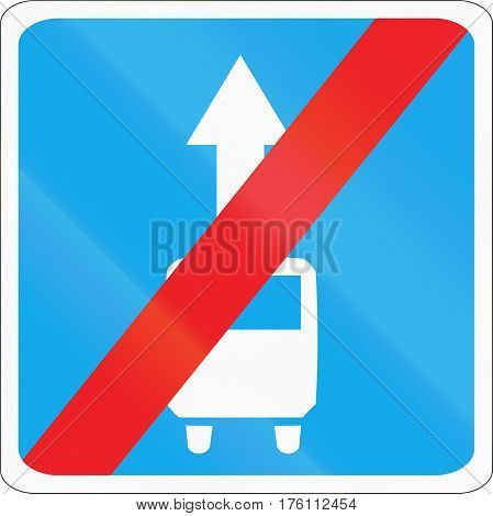 Belarusian Road Sign - End Of Vehicle Routing Lane