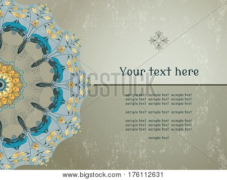Vector card. Round floral pattern on vintage plaster background. Hosta plant. Place for your text.