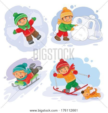 winter set icon little children making snow fort, slides on a sled, going skiing