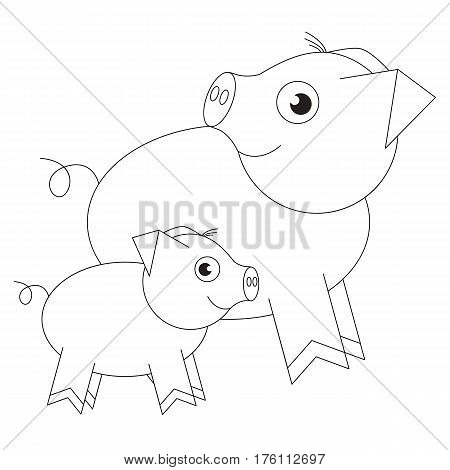 Pig mother and piggy baby cartoon. Outlined object with black stroke.