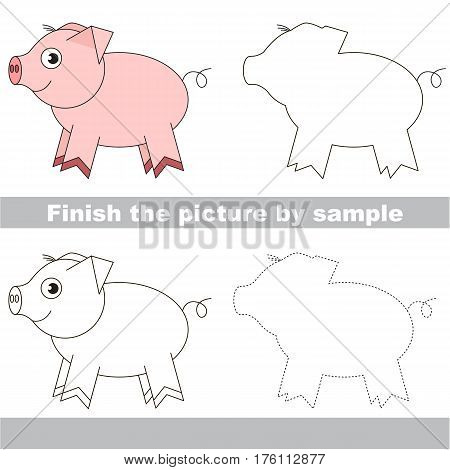 Drawing worksheet for children. Easy educational kid game. Simple level of difficulty. Finish the picture and draw the cute Pink Piggy.