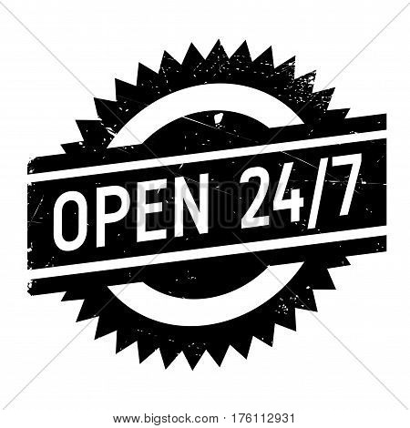 Open 24 7 stamp. Grunge design with dust scratches. Effects can be easily removed for a clean, crisp look. Color is easily changed.