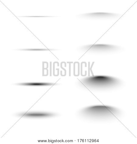 Set of black oval shadow for tab dividers. Vector collection isolated on white background.