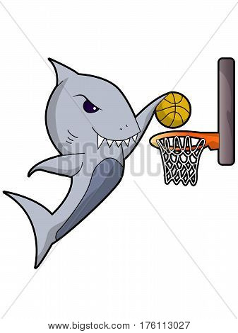 Cartoon Great White Shark Dunking a Basketball
