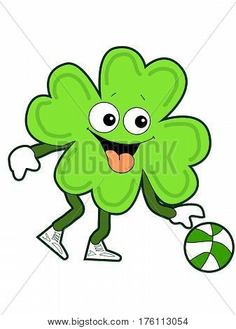 Happy Green Cartoon Shamrock Dribbling a Basketball