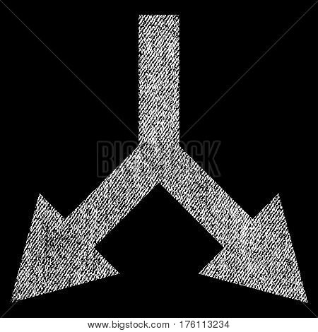 Bifurcation Arrow Down vector textured icon for overlay watermark stamps. Fabric white vectorized texture. Symbol with scratched design. Rubber seal stamp with fiber textile structure.