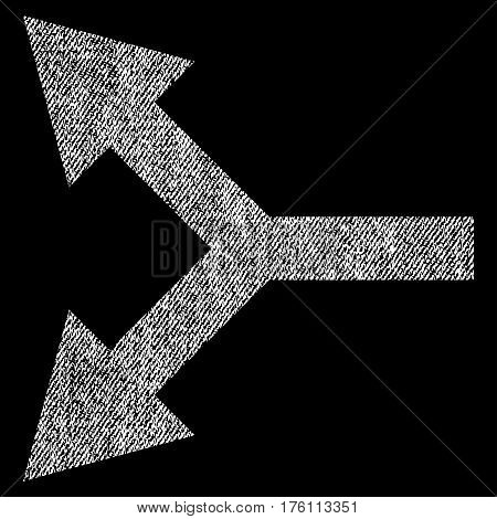 Bifurcation Arrow Left vector textured icon for overlay watermark stamps. Fabric white vectorized texture. Symbol with unclean design. Rubber seal stamp with fiber textile structure.