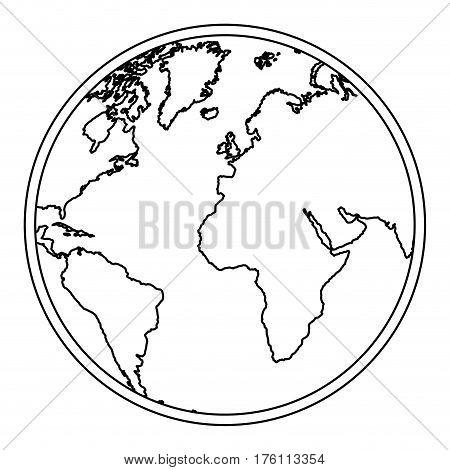 silhouette earth world map with continents icon vector illustration