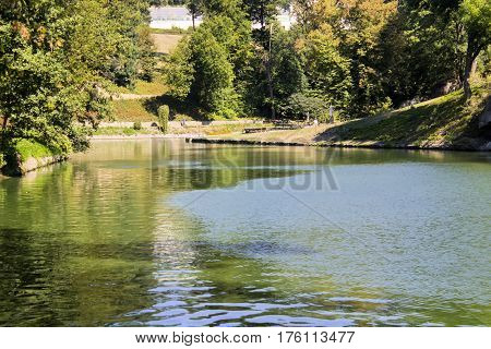 Reservoir landscape park woods nature Ukraine lake scenery sunny beautiful.