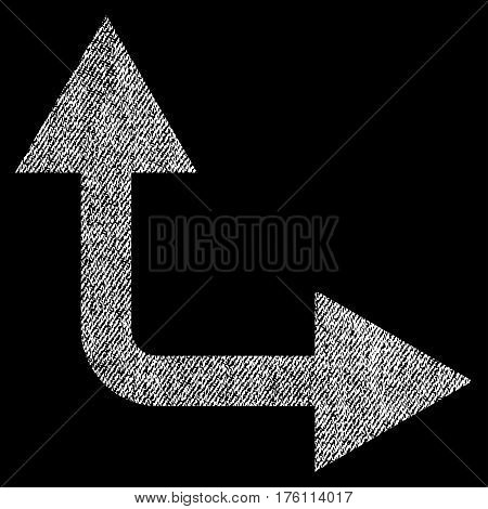 Bifurcation Arrow Right Up vector textured icon for overlay watermark stamps. Fabric white vectorized texture. Symbol with scratched design. Rubber seal stamp with fiber textile structure.