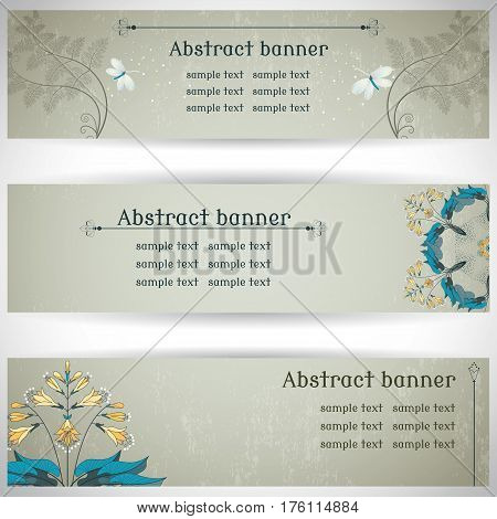 Set of three horizontal banners. Hosta fern and lacewing on vintage plaster background. Place for your text.