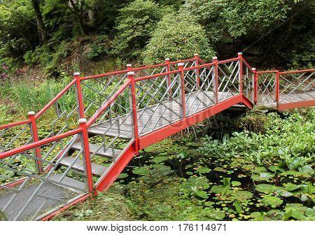 An Oriental Bridge in a Japanese Water Garden.