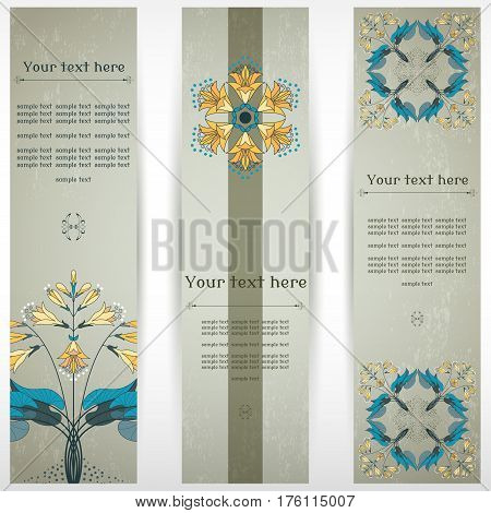 Set of three vertical banners. Hosta plant on vintage plaster background. Place for your text.