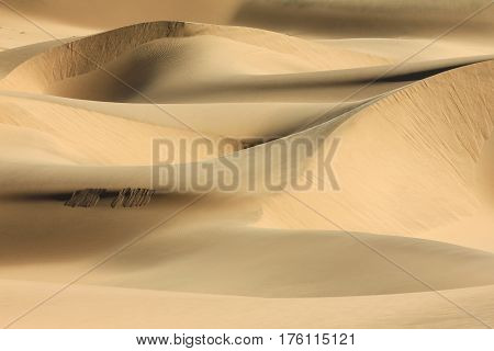 Big wandering sand dune in desert or beach. Sand dune texture in african desert.