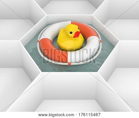 White hexagon cells with Life Saver buoy and duck bath baby toy at the pool water. Life ring floating at the sea water. Concept and idea mockup background 3d image.