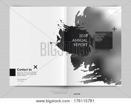 Cover design annual report, vector template brochures, flyers, presentations, leaflet, magazine a4 size. Abstract background with a watercolor brush effect. - stock vector