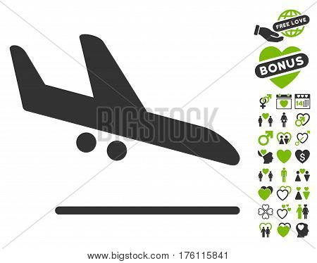 Aiplane Landing icon with bonus valentine icon set. Vector illustration style is flat iconic eco green and gray symbols on white background.