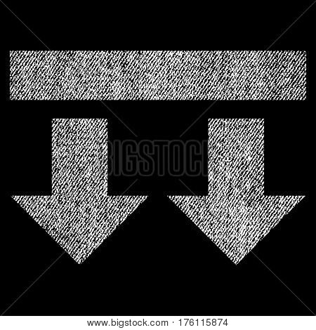 Bring Down vector textured icon for overlay watermark stamps. Fabric white vectorized texture. Symbol with scratched design. Rubber seal stamp with fiber textile structure.