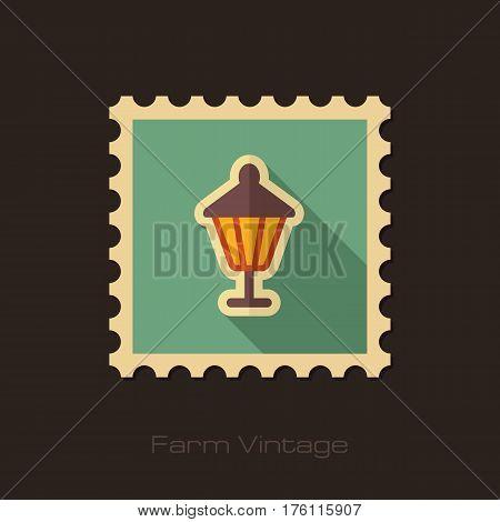 Garden lantern retro flat stamp with long shadow isolated garden eps 10