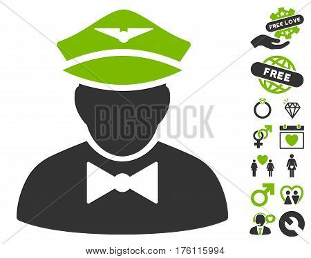 Airline Steward icon with bonus dating pictures. Vector illustration style is flat iconic eco green and gray symbols on white background.