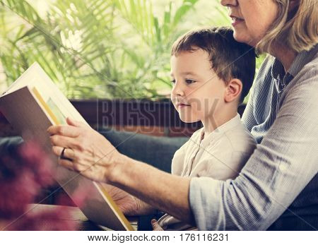 Grandmother Grandson Family Reading Leisure poster