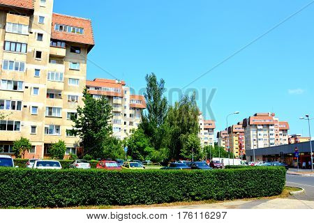 Racadau cvartal in south of the city Brasov, Transylvania. Typical urban landscape. Brasov is the center of Romania. 300.000 inhabitants.