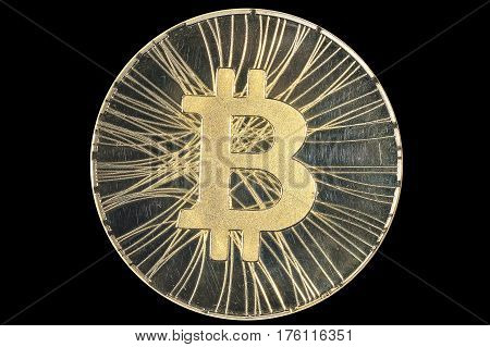 Shining gold metal BTC bitcoin coin on black background.