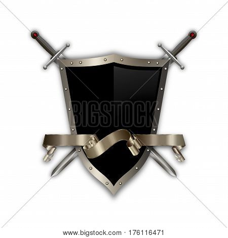 Ancient riveted shield with two swords and elegant ribbon on white background.