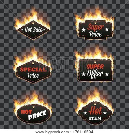 Set of six horizontal hot sale frames of different shapes surrounded with realistic flame isolated on transparent background. Burning fire light effect. Bonfire elements. Gradient mesh vector