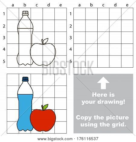 Copy the picture using grid lines, the simple educational game for preschool children education with easy game level, the kid drawing game with Water and Apple