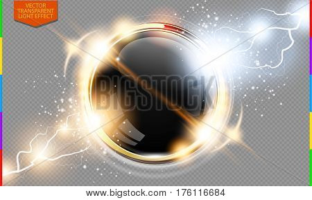 Abstract metal golden ring power science transparent background. Electric shine round tech frame black glossy space energy lightning. Light effect with sparks. Fiction vector glowing round