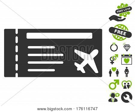 Airticket pictograph with bonus love pictograph collection. Vector illustration style is flat iconic eco green and gray symbols on white background.