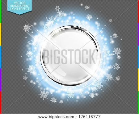 Abstract luxury chrome metal ring with white glass ball. Vector light circles snowflakes and spark light effect. Sparkling glowing round frame on blue transparent. Winter Christmas or New Year background