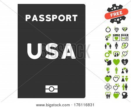 American Passport pictograph with bonus dating design elements. Vector illustration style is flat iconic eco green and gray symbols on white background.