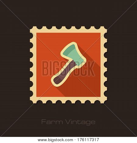 Axe ax hatchet retro flat stamp with long shadow isolated garden eps 10