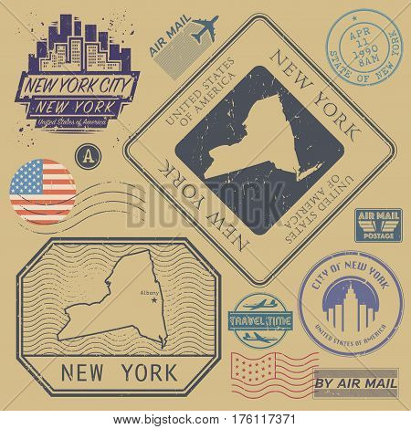 Retro vintage postage stamps set New York United States theme vector illustration