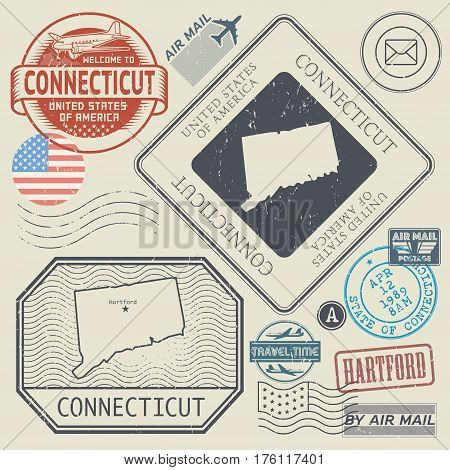 Retro vintage postage stamps set Connecticut United States theme vector illustration