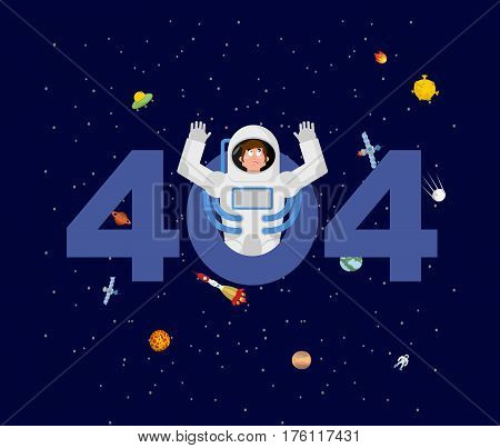 Error 404. Astronaut Surprise. Page Not Found Template For Web Site. Spaceman Does Not Know And Is S