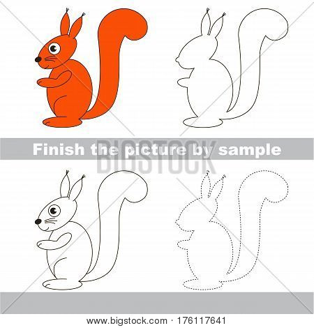Drawing worksheet for children. Easy educational kid game. Simple level of difficulty. Finish the picture and draw the cute Squirrel.