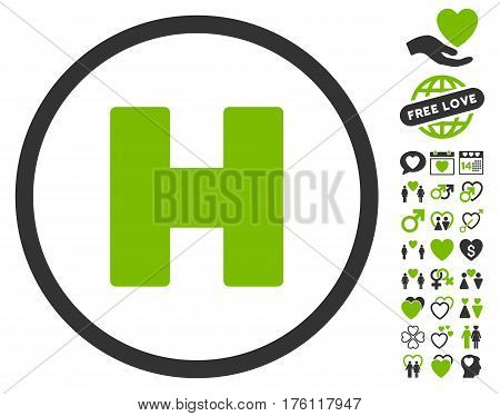 Helicopter Landing pictograph with bonus valentine icon set. Vector illustration style is flat iconic eco green and gray symbols on white background.