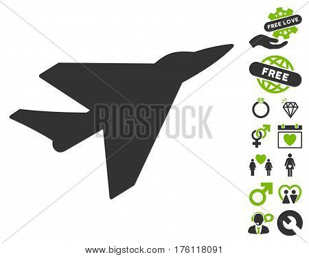 Intercepter icon with bonus dating pictograph collection. Vector illustration style is flat iconic eco green and gray symbols on white background.
