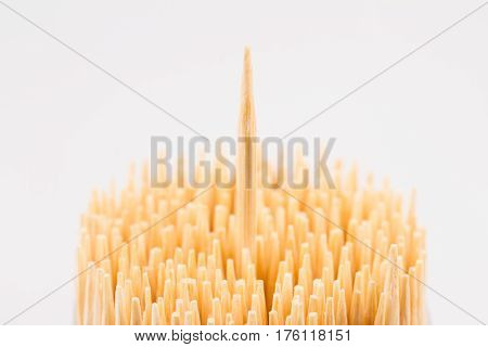 horizontal top view close up of wooden bamboo toothpicks with one stick rising up isolated on white background