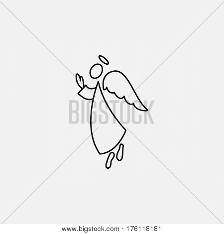 Stick figure angel icon and wings vector