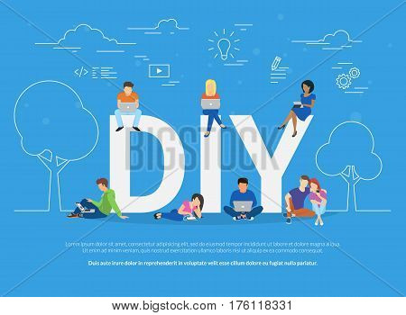 DIY concept vector illustration of young people using devices for watching tutorials and life hacks. Do it yourself flat concept of men and women using laptop for watching creative video blogs