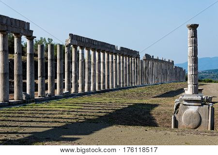 The stoas of the Gymnasium in the archaeological site of ancient Messene in Peloponnese, Greece
