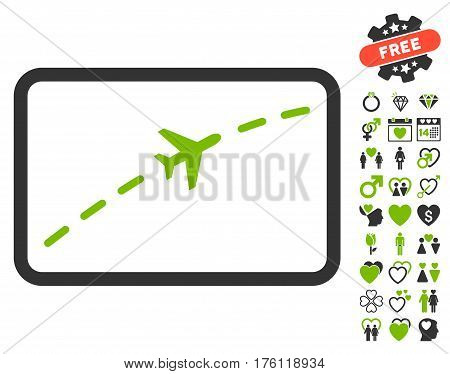 Plane Route icon with bonus dating icon set. Vector illustration style is flat iconic eco green and gray symbols on white background.