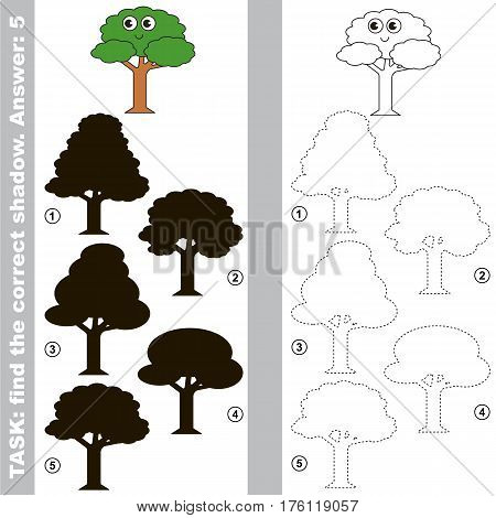 Funny Green Leaf Tree with different shadows to find the correct one. Compare and connect object with it true shadow. Easy educational kid gaming. Simple level of difficulty. Visual game for children.