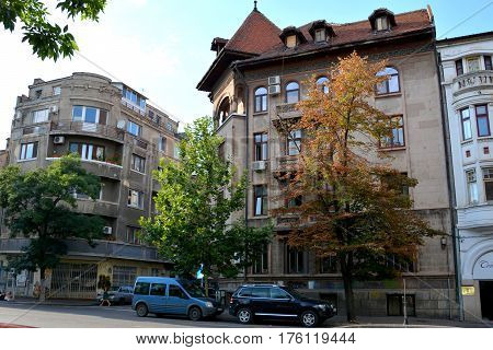 Typical urban landscape in the center of Bucharest - Bucuresti, the capital of Romania. Bucharest have 3 millions inhabitants and many historical vestiges